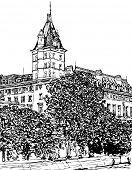 Vector illustration of Paris- Ile de la Cite - Palais de justice (hand drawing)