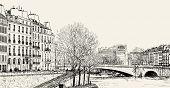 Ilustración de vector de una vista de Pont St. Louis en el río Sena y el Pont de la Tournelle
