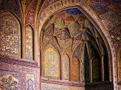 Filigree interior wall of ancient Wazir Khan Mosque, Lahore, Pakistan