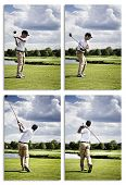 Collection of images showing male golf player teeing off golf ball from tee box.