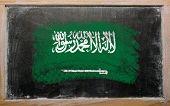 Bandera de Arabia Saudita en pizarra pintada con tiza