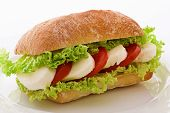 stock photo of baps  - Tomato Mozzarella Sandwich - JPG