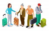 Group Of Tourists, Isometric Young And Old Tourists With Suitcases Vector Illustration. Tourist With poster