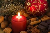 image of cobnuts  - Christmas Decoration with Candlelight - JPG