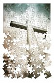 Christian Cross On Blue Background In Shape Of Puzzle - Concept Image With Copy Space - Toned Image poster