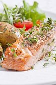 Roasted salmon steak with jacket potato