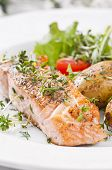 Salmon steak roasted with Salad and potato