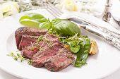 beef steak medium cut with vegetable