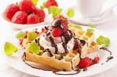 Waffles with strawberry dessert