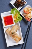 spring rolls with tempura and sweet-sour sauce