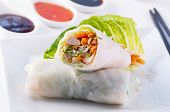 stock photo of nem  - spring rolls with vegetable and chicken - JPG