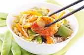 Prawns sweet - sour with vegetable and rice