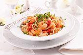 Spaghetti Diablo with king prawns