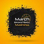 March Madness Basketball Sport Design. Basketball Tournament Logo, Emblem, Designs With Basketball B poster
