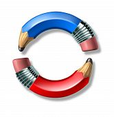 Blue And Red Pencil Symbol