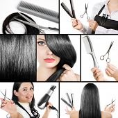 stock photo of barbershop  - Collage of several photos for fashion and beauty industry - JPG