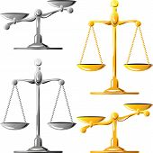 Vector Set Of Gold And Silver Scales Of Justice
