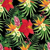 Rainforest Flowers Seamless Pattern. Tropical Flower Leaves, Tropic Jungle Plants And Exotic Floral  poster