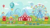Amusing Park Festival. Amusement Attractions Landscape, Kids Carousel And Ferris Wheel Attraction Ve poster