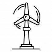 Wind Turbine Plant Icon. Outline Wind Turbine Plant Vector Icon For Web Design Isolated On White Bac poster