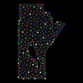 Bright Mesh Manitoba Province Map With Glare Effect. Wire Carcass Polygonal Mesh In Vector Format On poster