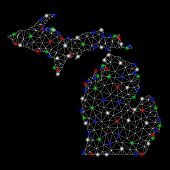 Bright Mesh Michigan State Map With Glare Effect. Wire Frame Polygonal Mesh In Vector Format On A Bl poster