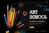 Web Page Design Template For Art School, Studio, Course, Creative Kids. Modern Design Vector Illustr poster