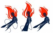 Rap Music Vector Logo Or Emblems Set With Microphone In Hand Flames, Hot Hip Hop Rhymes Festival Con poster
