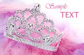 Little girls shiny tiara with pink and purple feathery boa on white background with copy space.  Mac