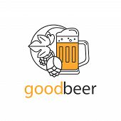 Beer Mug And Hops. Brewery Logo, Craft Beer Label, Alcohol Shop, Pub Icon. Vector Symbol In Modern L poster