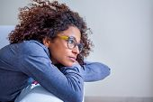 Worried Black Woman At Home Alone Feeling Sad poster