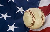 major league baseball with American flag