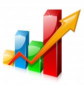 foto of stock market data  - Glassy colorful graph with arrow - JPG