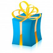 Easy to edit vector gift box (BLUE variant)