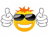 Smiling sun with glasses 2. Vector illustration