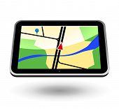 GPS Navigator (black, horizontal view). Editable vector Illustration.