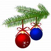 Branch with Christmas balls. Editable Vector.