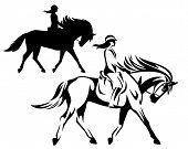 Woman Riding Horse During Dressage Competition - Equestrian Sport Black And White Vector Outline And poster