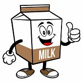 Chocolate Milk Carton Mascot With Thumbs Up - A Cartoon Illustration Of A Chocolate Milk Carton Masc poster