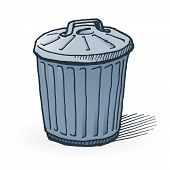 picture of dumpster  - Handmade illustration of garbage bin on white background - JPG