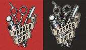 Vintage Barbershop Colorful Label With Ribbon Around Barber Pole Straight Razor And Scissors Isolate poster