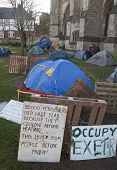 Signs And Tents In The Occupy Exeter Camp
