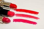 Lipstick. Beauty And Fashion Concept. Set Of Beautiful Lips On White.lipstick And Lipstick Kiss Mark poster