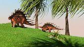 two kentrosaurus in jungle