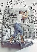 Peep To The Sky And Cosmos. Top View Photo Of Young Man Sleeping In A Big White Bed At Home. Dreams  poster