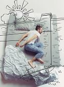 The Faster Skater Driver. Top View Photo Of Young Man Sleeping In A Big White Bed At Home. Dreams Co poster