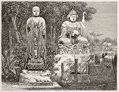 Atagosa-Yama Buddhist idols, Japan. Created by Tournois after photo by unknown author, published on Le Tour du Monde, Paris, 1867