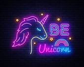 Be Unicorn Neon Sign Vector Design Template. Unicorn Neon Sign, Light Banner Design Element Colorful poster