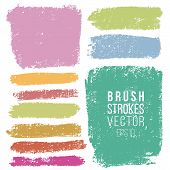 Vector Set Of Hand Drawn Wax Crayon Strokes Various Rectangular Shape For Backdrops. Colorful Artist poster