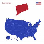 The State Of Connecticut Is Highlighted In Red. Blue Vector Map Of The United States Divided Into Se poster